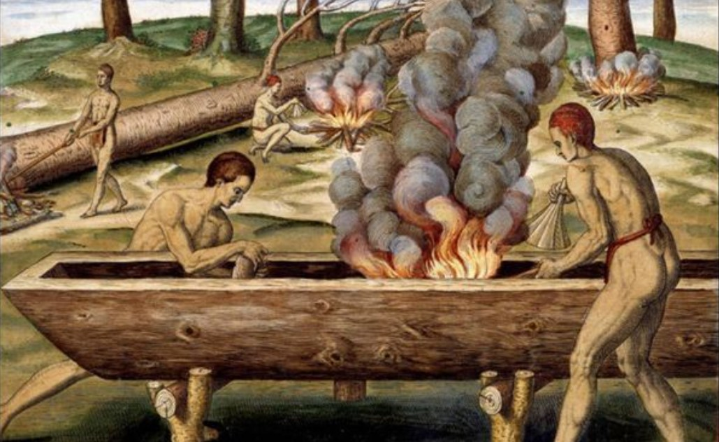 Construction d'une pirogue monoxyle par des Autochtones, Aquarelle de John White, Virginie (1585)